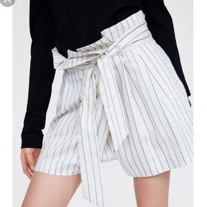 NWOT Zara Paperbag Striped Shorts